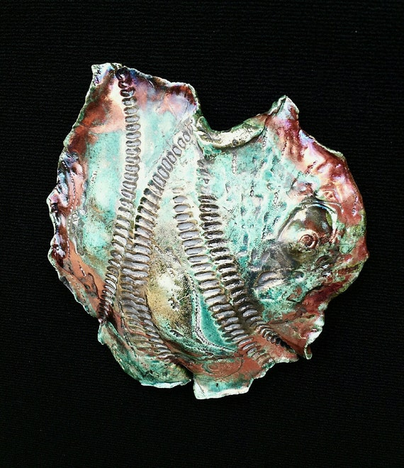 "Raku Fired ""Fossil No.2"" Wall Art"