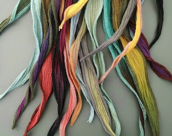 Hand-dyed Silk, Silk Ribbons, Ombre Silk, Ribbon Closure, Gift for Women, Gift for Her, Gift, Perfect Match with Raku Pendants
