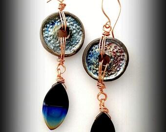 Jewelry Earrings, Earrings Jewelry, Ceramic Jewelry, Raku Earrings, Copper Earrings, Gift for Women , Gift for Her, Boho Earrings, Gift
