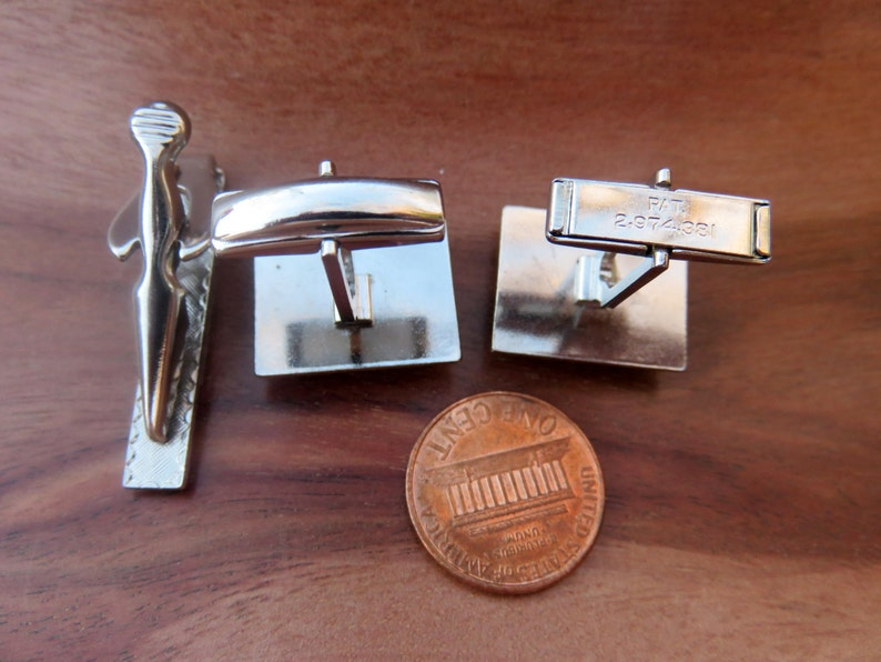 Vintage Silver Toned Black Cufflinks Cuff Links and Tie Clip