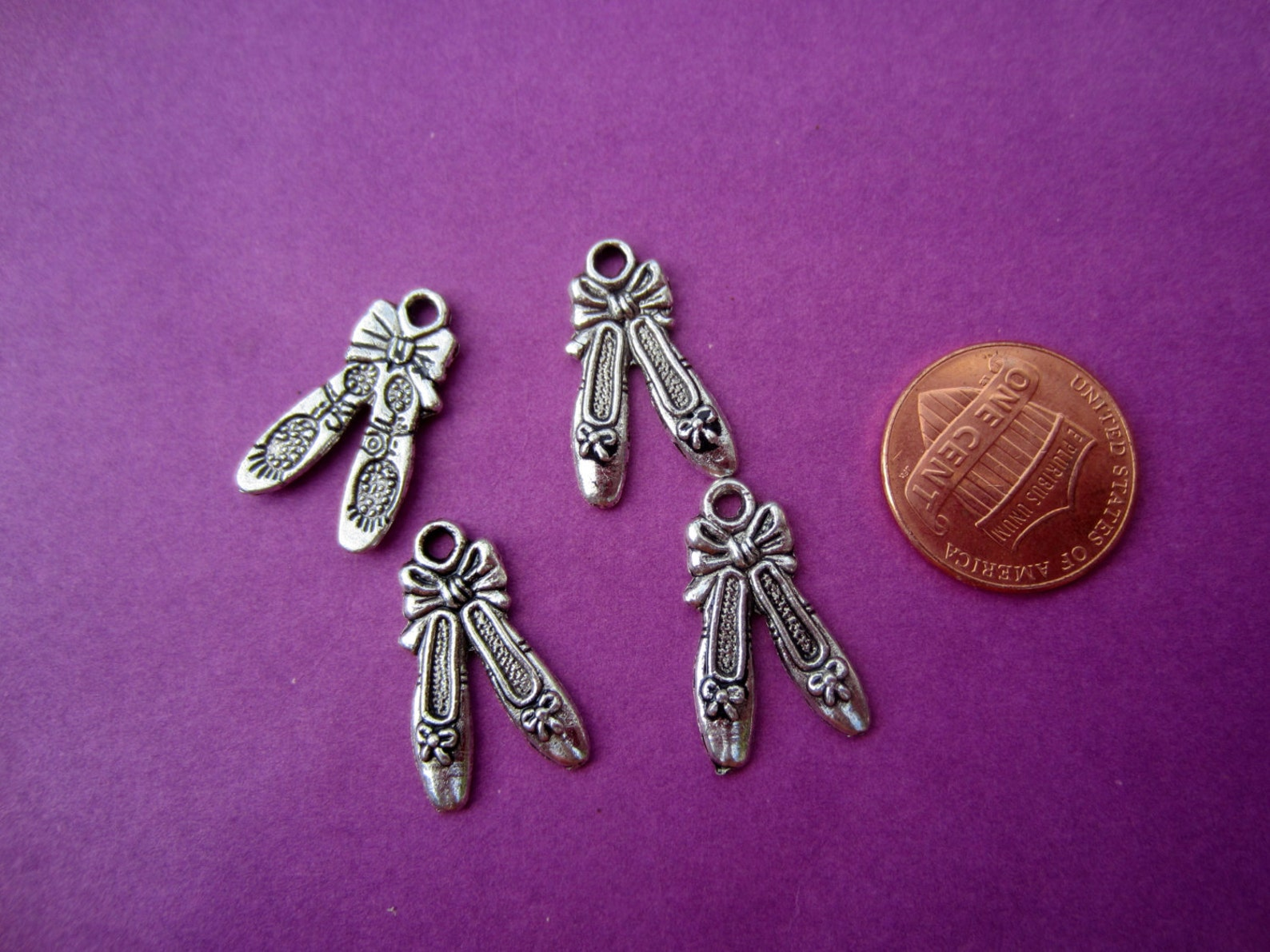 ballet ballerina dance shoes charms antique silver tone