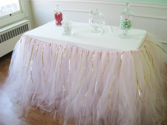 Custom Tulle Tutu Table Skirt Pink With Gold Ribbon Etsy