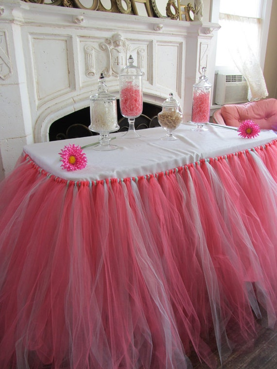 Coral Amp Mint Custom Tutu Table Skirt Etsy
