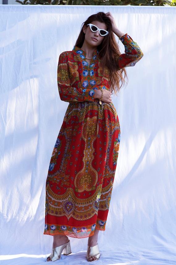 Vintage Red Boho Maxi Dress