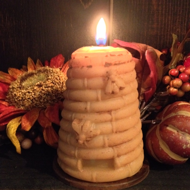 100% Pure Beeswax Grungy Beehive candle / Large Bee skep image 0