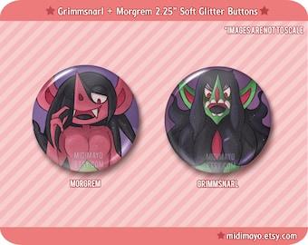 Pokemon: Morgrem Grimmsnarl Soft Glitter Pinback Buttons