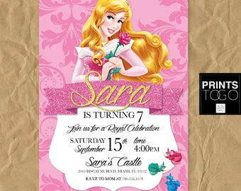 Sleeping Beauty Invitation Birthday Princess Aurora Disney Party
