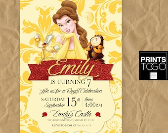 Belle invitation etsy princess belle invitation princess party invitation princess belle party invite princess belle birthday invitation beaty and the beast filmwisefo
