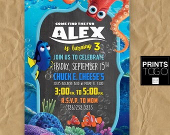 Finding Dory Birthday Invitation Party Nemo Disney
