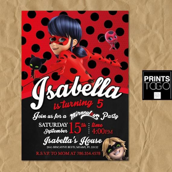 miraculous ladybug invitation digital printable invite etsy