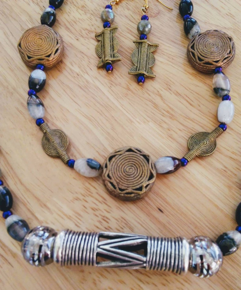 African brass beads plus earrings. 2 strand necklace laboradite agate geode glass beads onyx purple Hematite pewter african drum