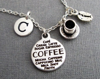 Coffee Collage Necklace, Coffee Cup and Coffee Bean Keychain Keyring, Coffee Lovers Bangle Bracelet, Java Caffeine Cappucino Mocha Espresso