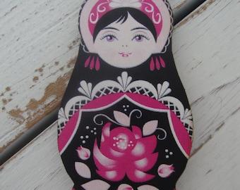 Russian Matroyshka Doll Brooch #7, Vintage Babushka Doll Illustrations on Laser Cut Wood, Wooden Russian Nesting Doll Brooch or Magnet