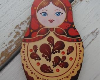 Russian Matroyshka Doll Brooch #11, Vintage Babushka Doll Illustrations on Laser Cut Wood, Wooden Russian Nesting Doll Brooch or Magnet