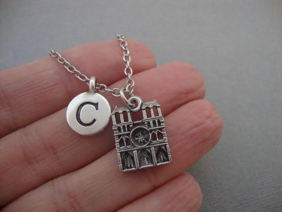 Notre Dame Cathedral Necklace Notre Dame de Paris Keychain Keyring France Architecture French Landmark Charm Necklace Initial Necklace
