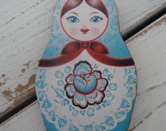 Russian Matroyshka Doll Brooch #4, Vintage Babushka Doll Illustrations on Laser Cut Wood, Wooden Russian Nesting Doll Brooch or Magnet