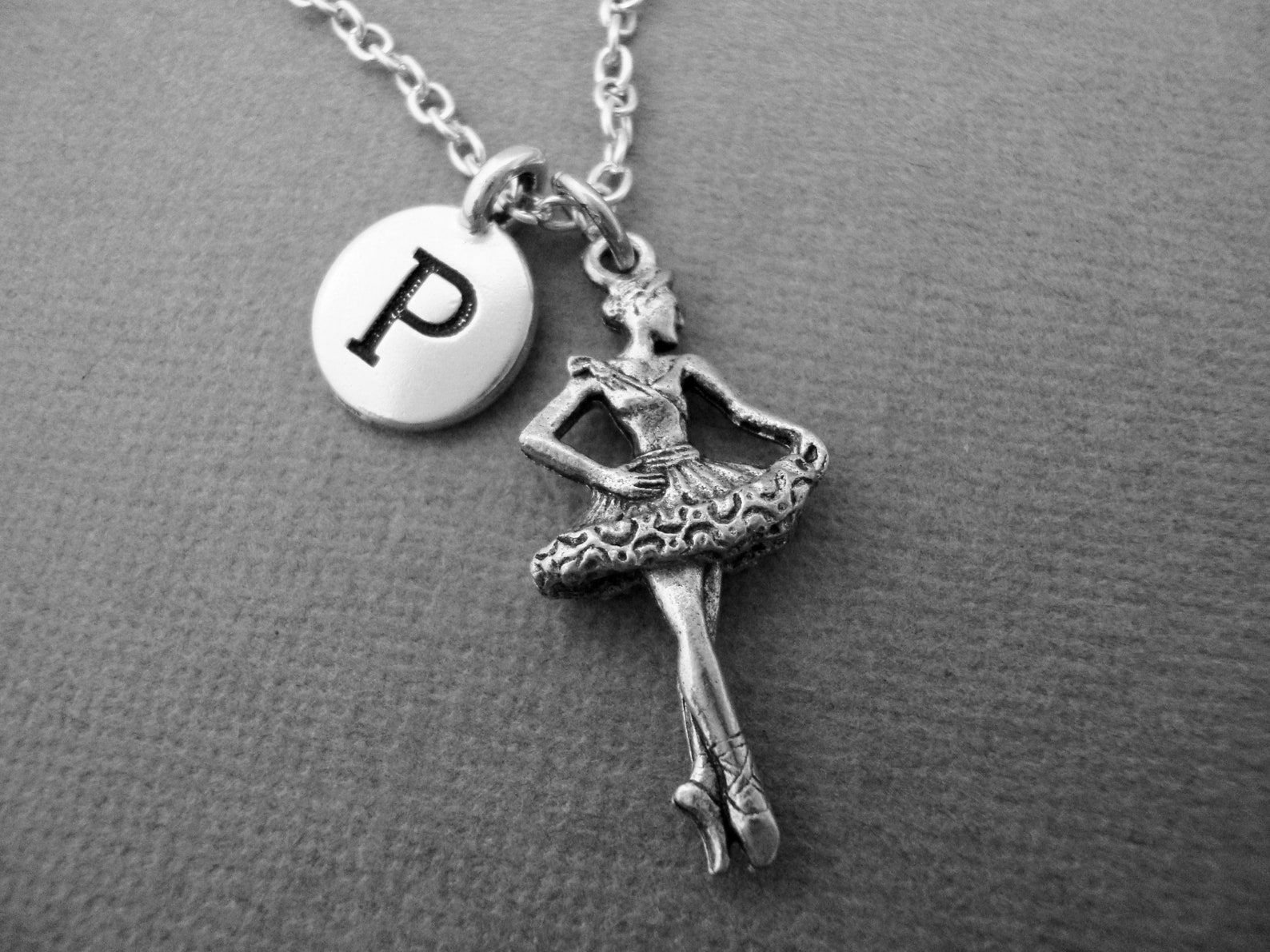 ballerina necklace prima ballerina keychain keyring ballet dancer charm jewelry initial necklace theater performing arts dance t