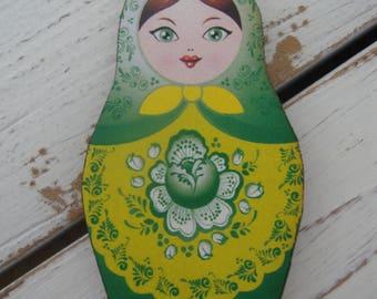 Russian Matroyshka Doll Brooch #3, Vintage Babushka Doll Illustrations on Laser Cut Wood, Wooden Russian Nesting Doll Brooch or Magnet