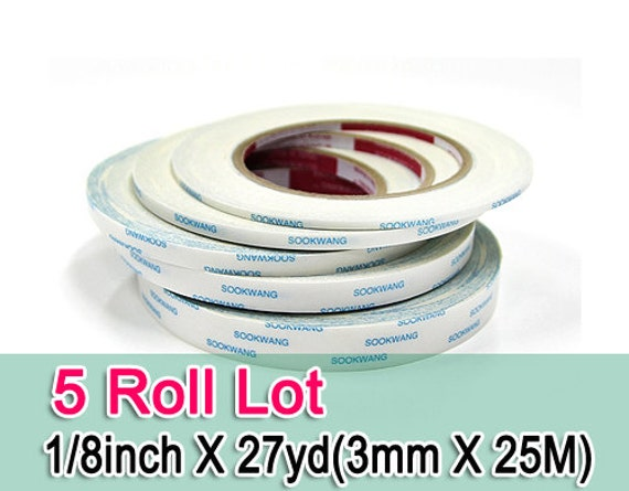 "Sookwang Scor-Tape Double-sided Tape Lot 4 Roll Lot Sizes 1//8/"" 1//4/"" 3//8/"" 1//2/"""