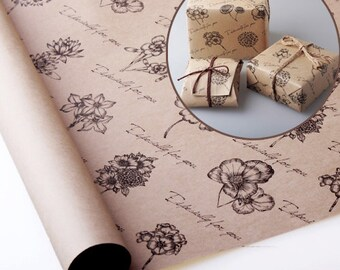 """10 sheets wrapping paper, Double Sided Printing, High quality paper for Gift Wrap  and Craft : Vintage Flower 23"""" X 16.5"""" (59 cm X 42 cm)"""