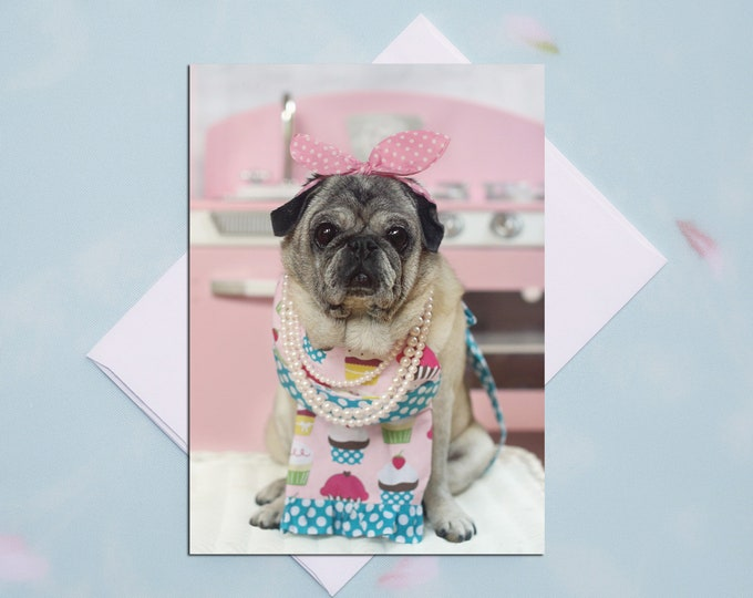 BLANK Card - Cupcakes in the Kitchen - All Occasion PUG Greeting Card- Pug Gift - Pugs and Kisses - 5x7