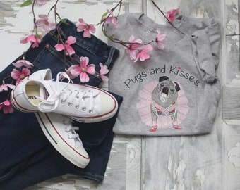 ALL NEW T-Shirt Classic Short Sleeve Heather Gray Pugs and Kisses Women's LOGO Pug T-shirt