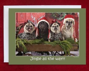 Funny Christmas Card- Jingle All The Way - Pug Christmas Card- 5x7