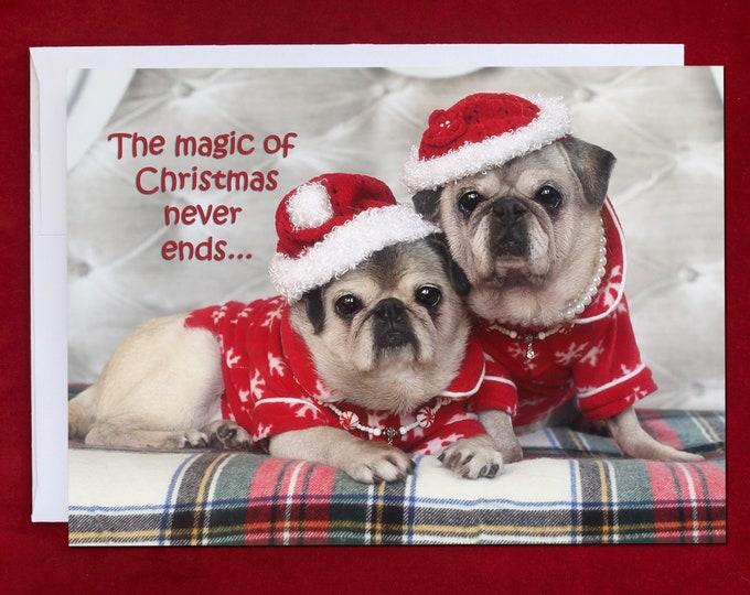 ALL NEW - PUG Christmas Card - The Magic of Christmas -Pug Christmas Card - 5x7