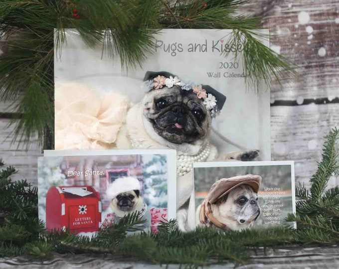GIFT Pack 1 - The Ollie - 1 Cal 1 Card 1 Mag Gift Pack - Gifts for Pug Lovers - by Pugs and Kisses