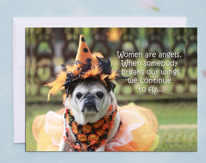 BOX of 10 Halloween Cards Funny - Pug Card - Cute Card - 5x7