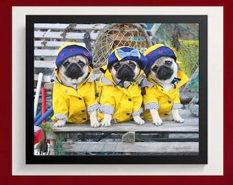 Pug Wall Art - Fishermen Pug Pups - Pug Puppies Art Print - Pug Gift - by Pugs and Kisses 5x7 8x10 11x14 16x20