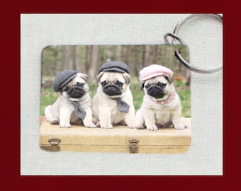 NEW! Pug Keychain - Hats and Ties - Gift for Pug Lovers by Pugs and Kisses