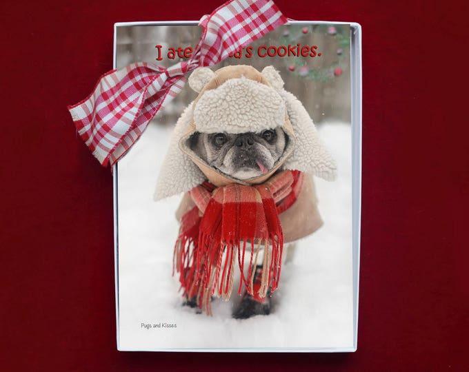 BOXED CHRISTMAS Cards - I Ate Santa's Cookies - pug christmas cards - 5x7