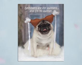 Pug Wall Art - Leftovers - Pug Art Print - Pug Gift - Pug Gift by Pugs and Kisses 5x7 8x10 11x14 16x20
