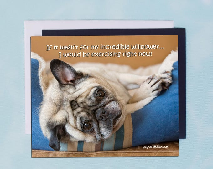 Pug Magnet - If It Wasn't For My Incredible Willpower- 5 x 4 Pug magnet - by Pugs and Kisses
