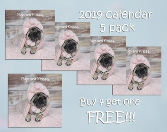 PACK of 5 - 2019 Wall Calendar - Pug Calendars by Pug and Kisses