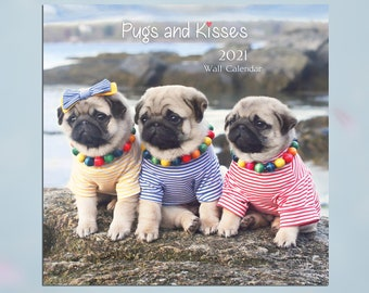2021 Wall CALENDAR - Pug Calendar - Pugs and Kisses