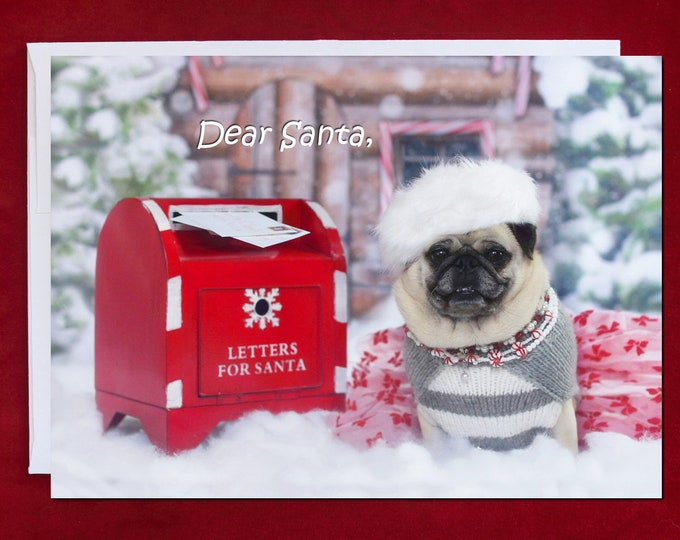 ALL NEW Funny Christmas Card - Is It Too Late To Be Good - Pug Christmas Card - 5x7