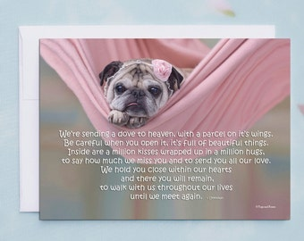 PET SYMPATHY CARD, We're Sending A Dove To Heaven, Pug Sympathy Card by Pugs and Kisses