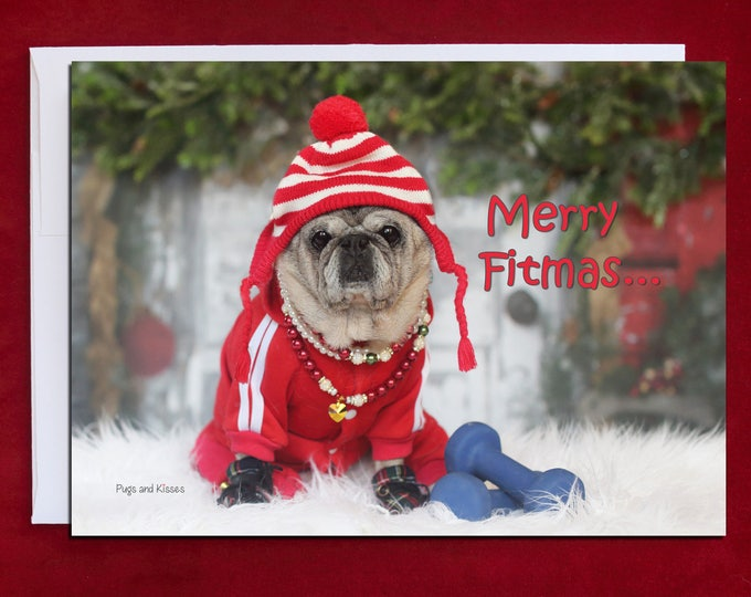 Funny Christmas Card - Merry Fitmas - Christmas Card -5x7