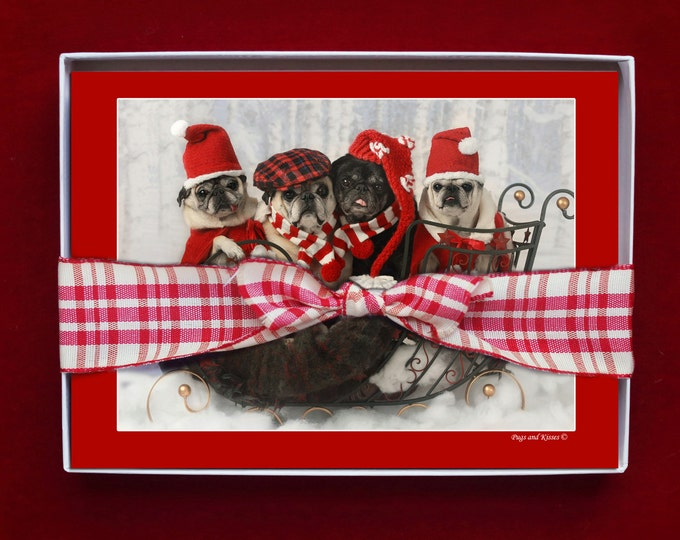 BOXED HOLIDAY Cards - Sleigh Full of Pug Love - Pug Holiday Cards - 5x7