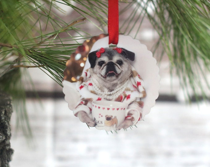 ALL NEW Pug Ornament - Visions of Coffee Beans - Gift for Pug Lovers by Pugs and Kisses