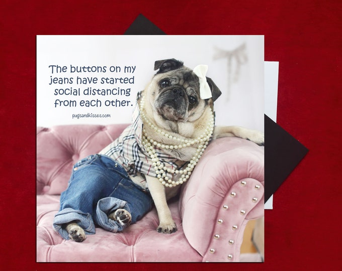 NEW! Pug Magnet - Social Distancing - 5 x 4 Pug magnet - by Pugs and Kisses