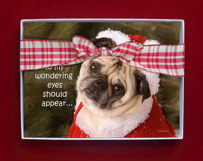 BOXED HOLIDAY Cards - When What To My Wondering Eyes - Pug Holiday Cards - 5x7 -