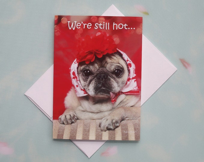 Funny Birthday Card for Her - Hot Flash - Happy Birthday Card by Pugs and Kisses