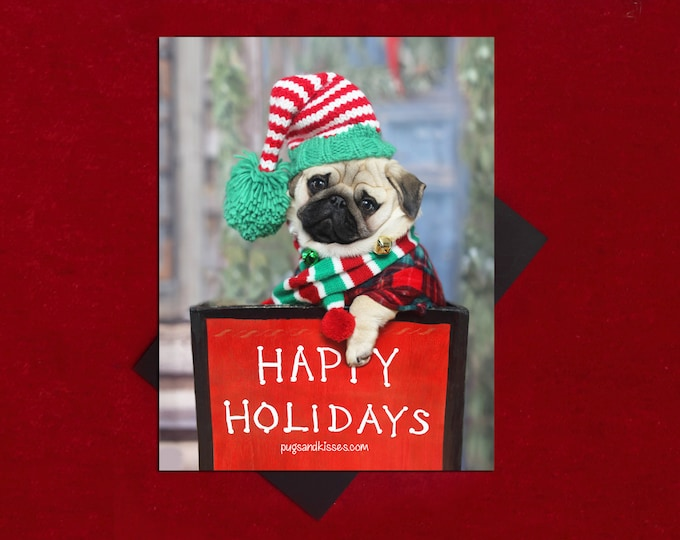 Pug Magnet - Happy Holidays - 4x5 Pug magnet - by Pugs and Kisses