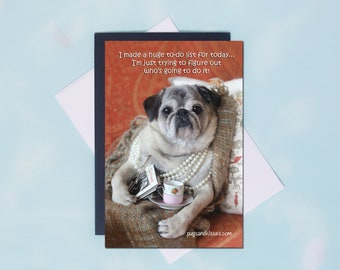 NEW! Pug Magnet - Tea Time - 4 x 6 Pug magnet by Pugs and Kisses