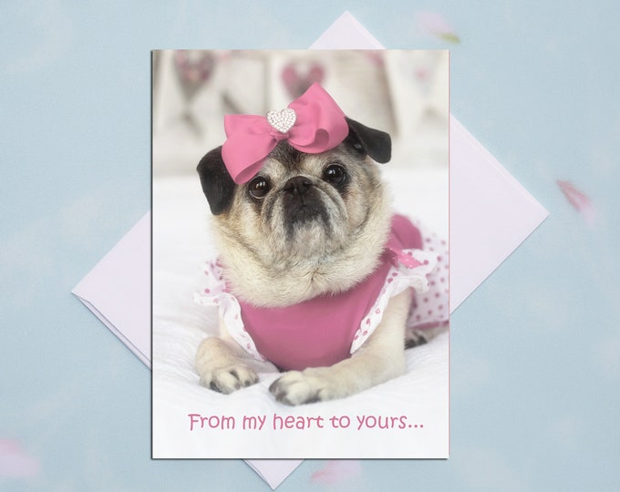 5x7 THANK YOU CARD, From My Heart to Yours, Pug Greeting Card by Pugs and Kisses