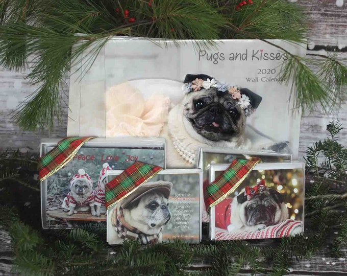 GIFT Pack 3 - The Zoe - 3 Calendars 10 Cards 16 Notecards 10 magnets Gift Pack - Gifts for Pug Lovers - by Pugs and Kisses