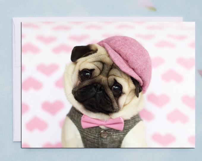 NEW! -Pug Valentine Card - Will You Be Mine? - 5x7 Valentine's Day Pug Card
